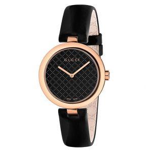 Gucci- YA141401 zwart lederen dames horloge