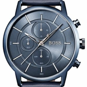 Hugo Boss herenhorloge model Architectural 1513575 leren band